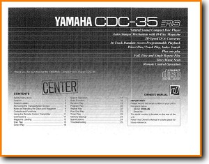 Yamaha CDC-35 CD Player Main User Book - PDF & Tech Help* | English