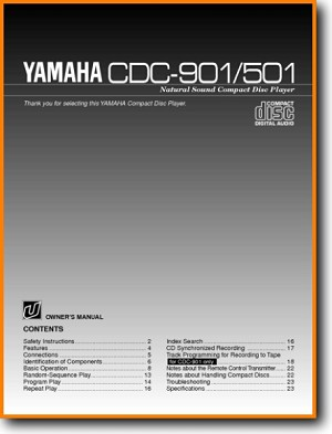 Yamaha CDC-901 CD Player Main User Book - PDF & Tech Help* | English
