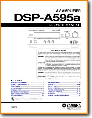 Yamaha DSPA-595-A Amp Receiver Main Technical Manual - PDF & Tech Help* | English