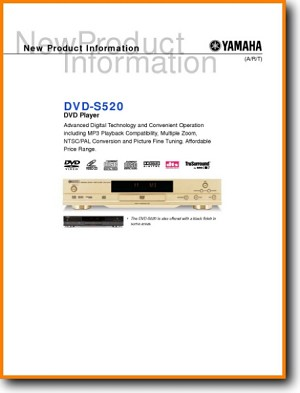 Yamaha DVDS-520 DVD Player Main Brochure - PDF & Tech Help* | English