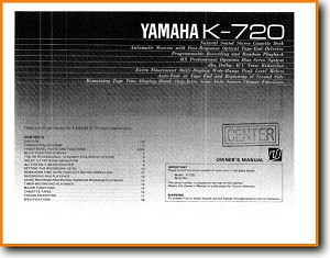 Yamaha K-720 Tape Player Main User Book - PDF & Tech Help* | English